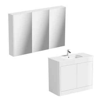 Mode Purity ice white vanity unit 1000mm and mirror