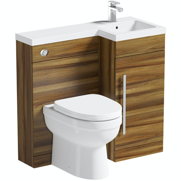 MySpace walnut right handed unit with Eden back to wall toilet