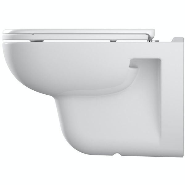 Duravit D-Code rimless wall hung toilet with soft close seat, Grohe Rapid SL frame and Skate Cosmopolitan push plate