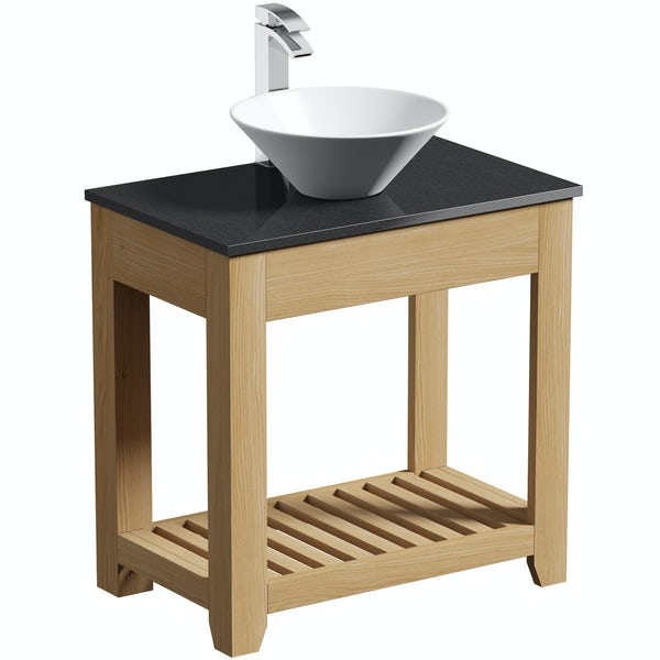 The Bath Co. Hoxton oak washstand with black marble top and Erie basin 800mm