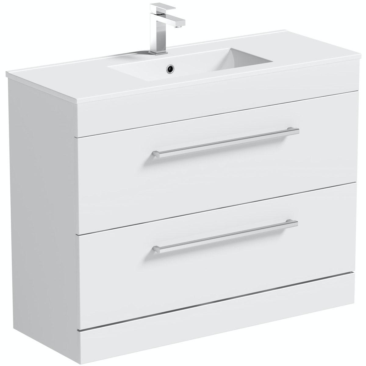 Chamonix white floor drawer vanity unit with basin 900mm