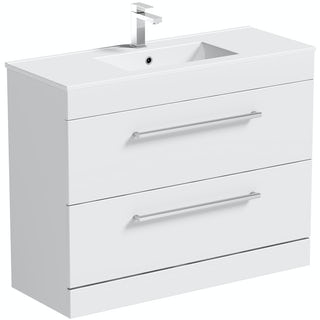 Chamonix white floor drawer vanity unit with basin 900mm