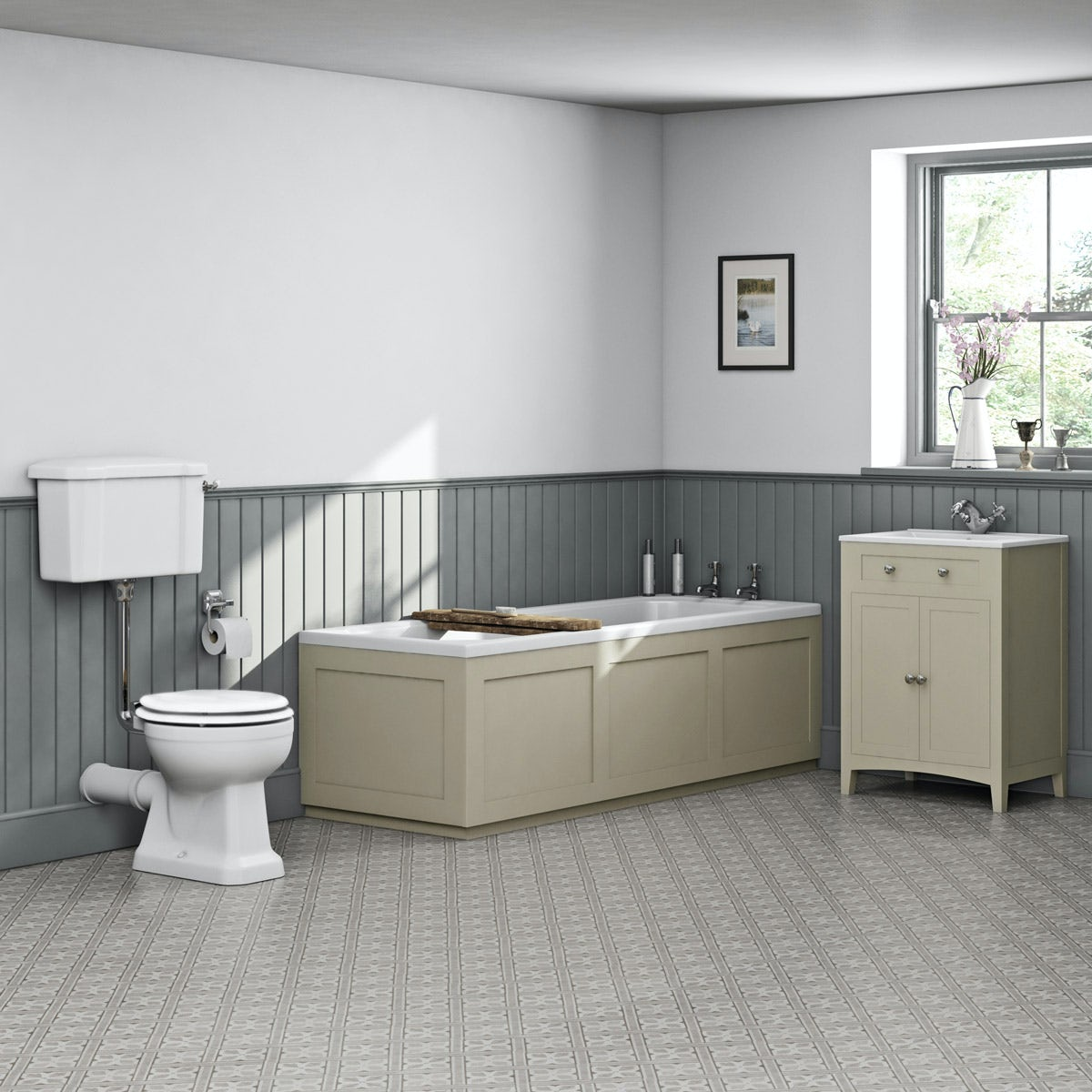 The Bath Co. Camberley satin ivory low level furniture suite with straight bath 1700 x 700mm