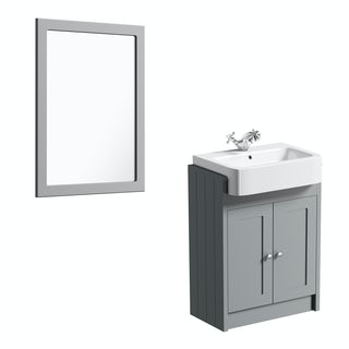 The Bath Co. Dulwich stone grey semi recessed vanity unit and mirror 600mm