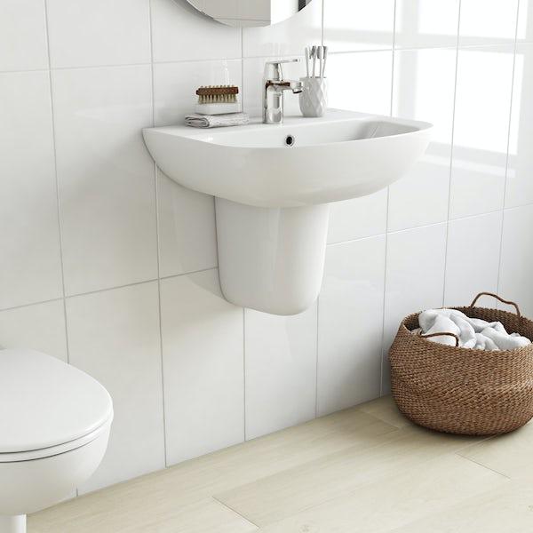 Grohe Bau 1 tap hole semi pedestal basin 550mm