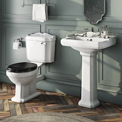 Winchester close coupled toilet and full pedestal basin with black seat