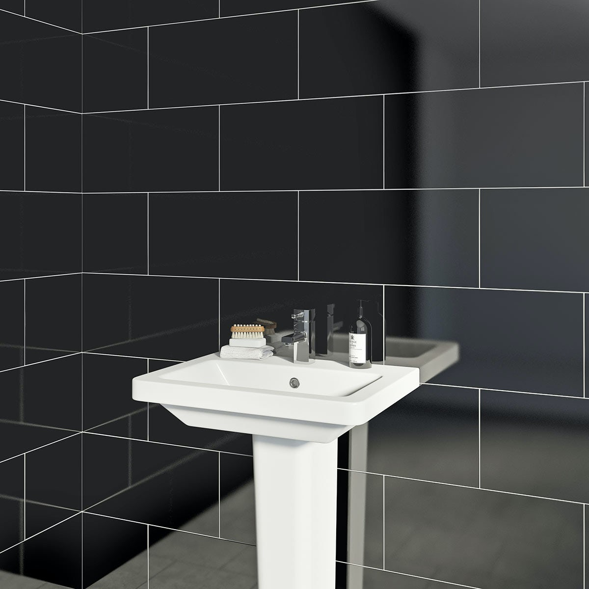 British Ceramic Tile Pure black gloss tile 248mm x 498mm - Sold by Victoria Plum