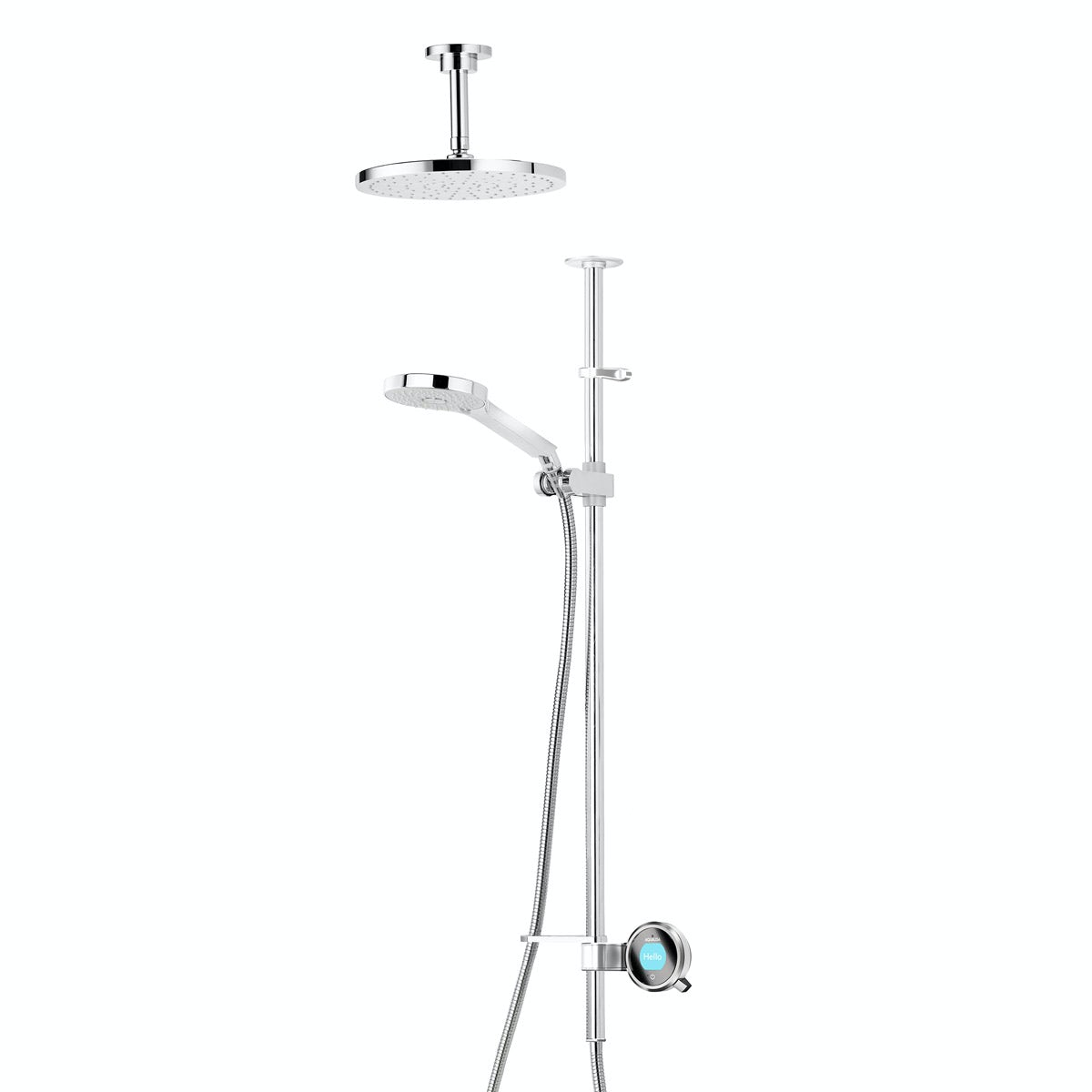 Aqualisa Q exposed digital shower pumped with slider rail and ceiling arm