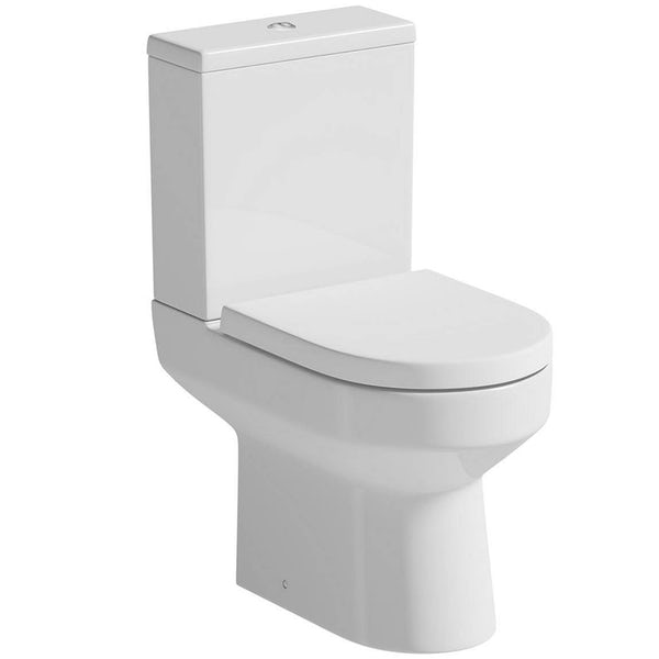 OrchardWharfecloakroom suite with full pedestal basin 500mm with tap and waste