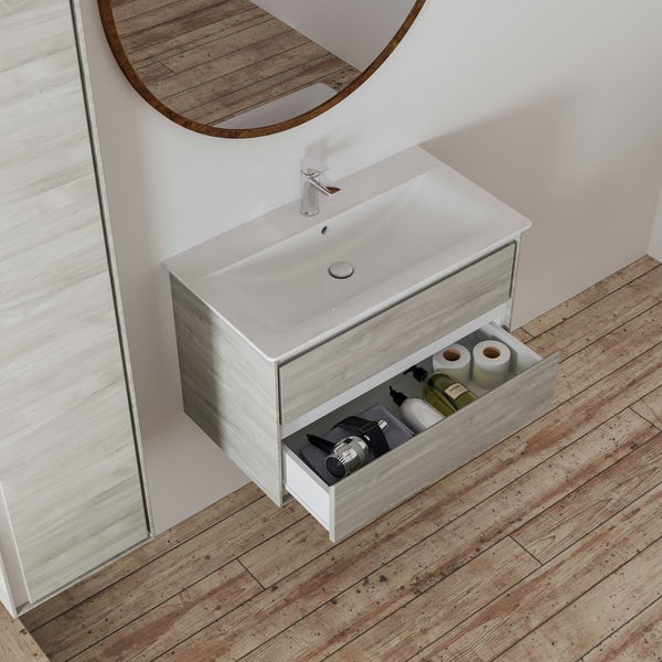 Ideal Standard Concept Air wood light grey and matt white wall hung vanity unit and basin 800mm