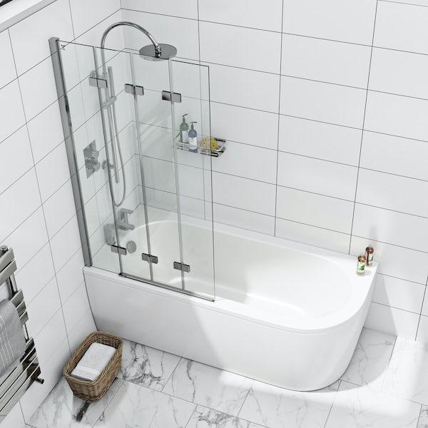 6mm frameless left handed 4 screen folding hinged bath screen