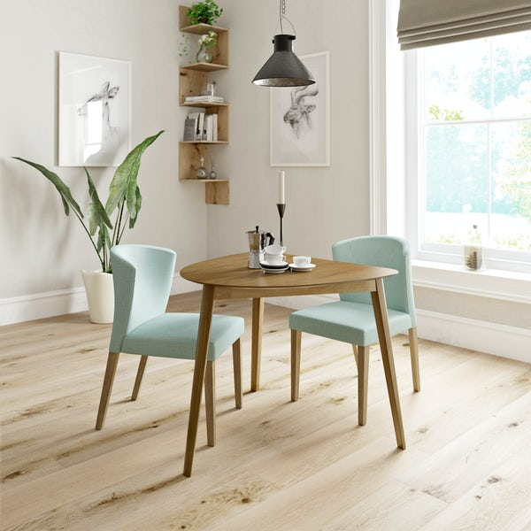 Ernest oak apartment table with 2 x Hudson light cyan dining chairs