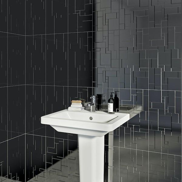 British Ceramic Tile Pure black structure gloss tile 248mm x 498mm