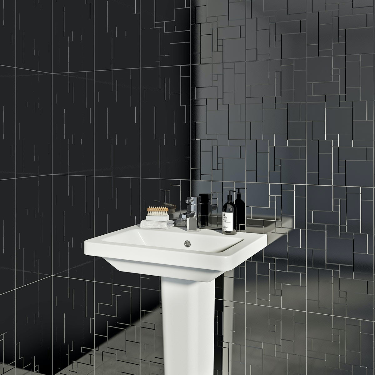 British Ceramic Tile Pure black structure gloss tile 248mm x 498mm