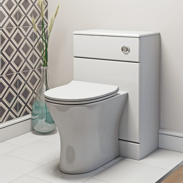 Derwent Round back to wall toilet with soft close slim toilet seat