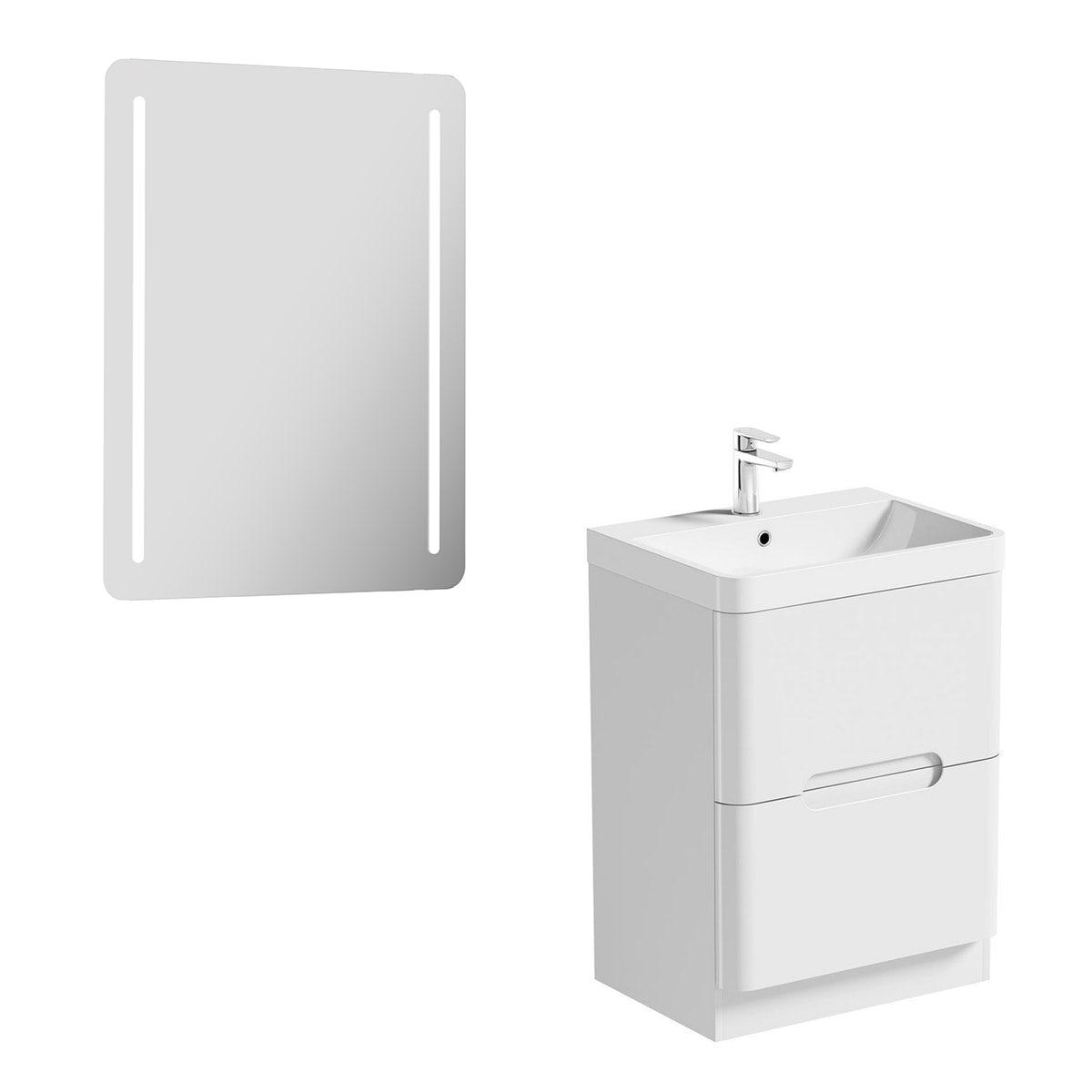 Mode Ellis white vanity drawer unit 600mm and mirror offer