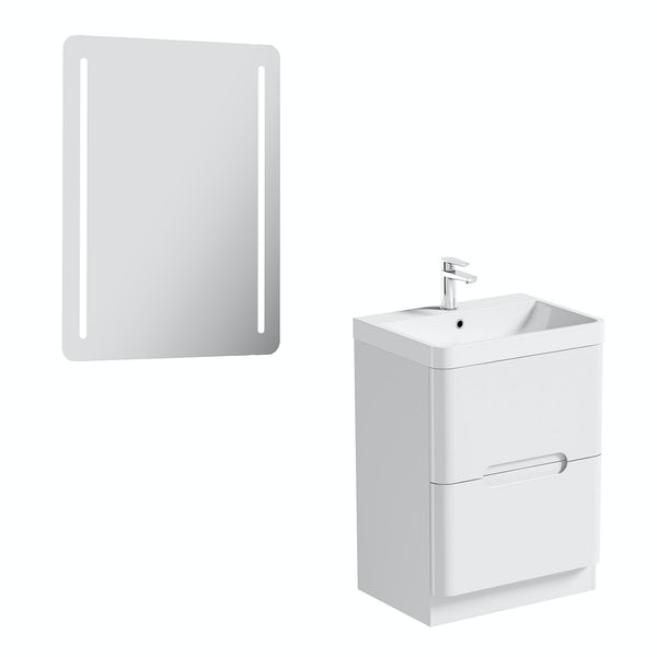 Mode Ellis white vanity drawer unit 600mm and mirror offer