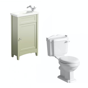 The Bath Co. Camberley sage cloakroom unit with Winchester close coupled toilet
