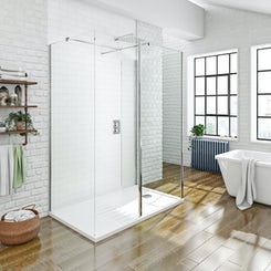 Mode luxury 8mm 3 sided walk in shower enclosure pack with shower tray