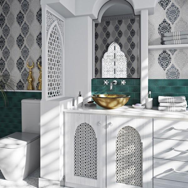 Mode Mackintosh gold foil glass countertop basin