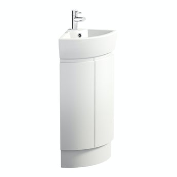 Mode Curvaceous snow corner vanity unit and basin