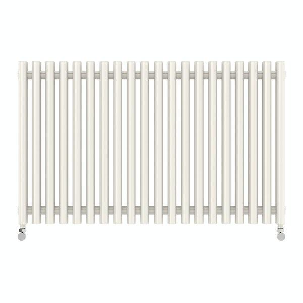 Tune soft white double horizontal radiator 600 x 990