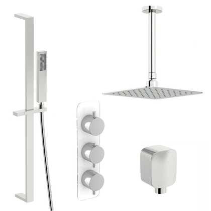 Mode Austin thermostatic shower valve with slider rail and ceiling shower set