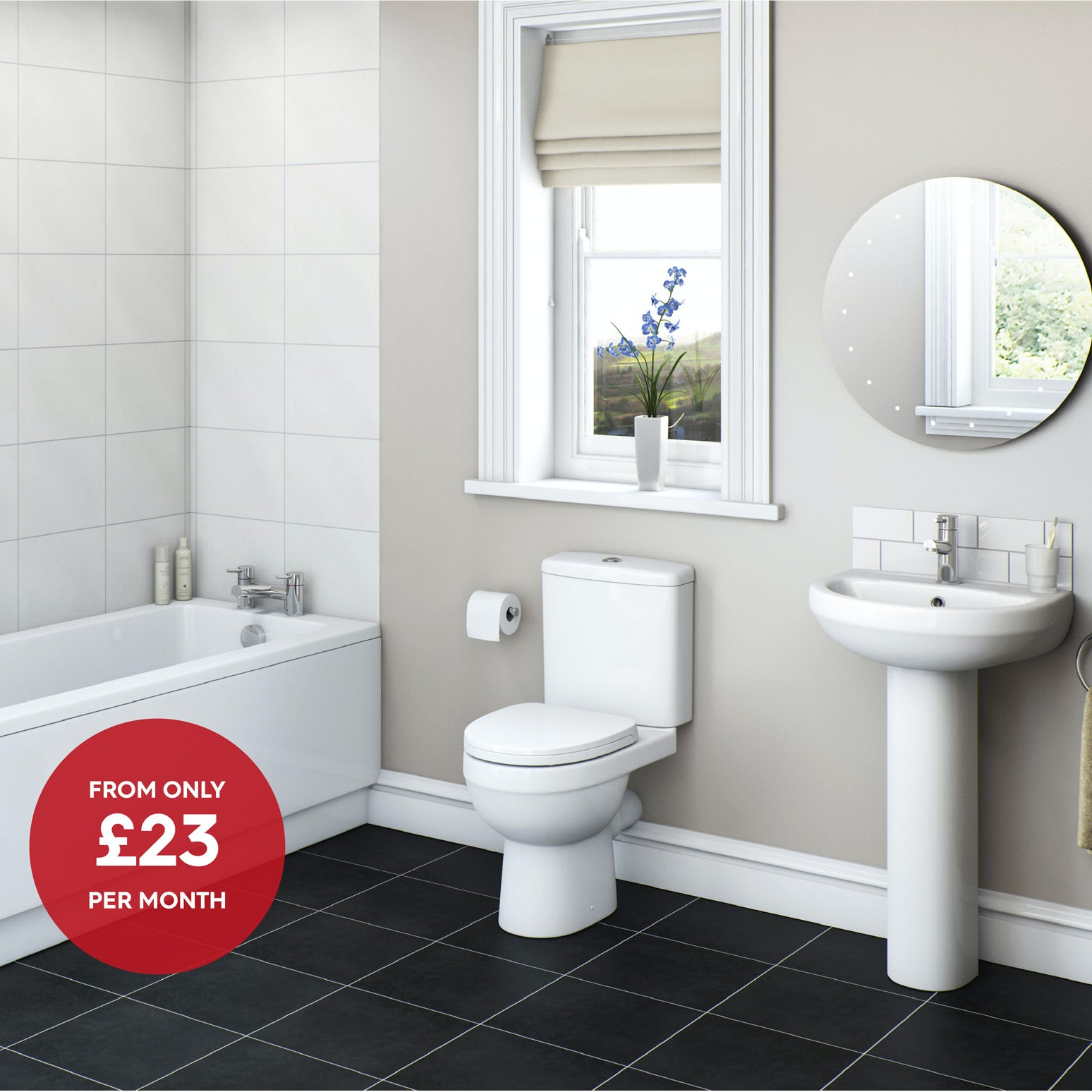 Orchard Eden complete bathroom suite with straight bath