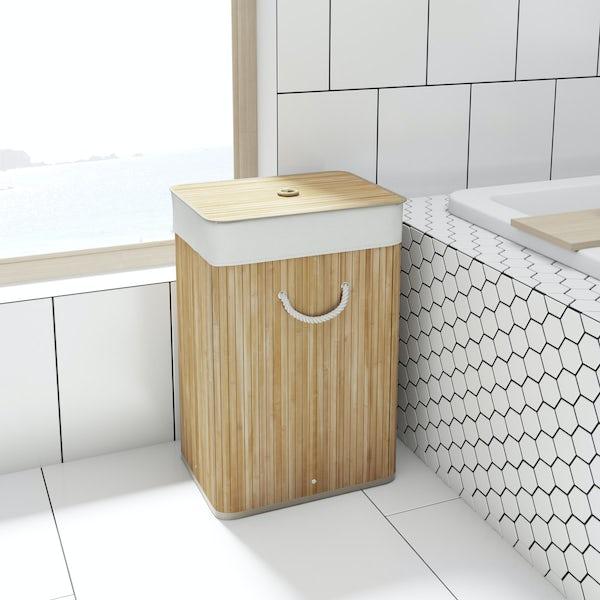 Natural bamboo rectangular laundry basket