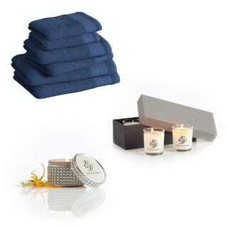 Supreme navy towel bale with diamante tin and gift box