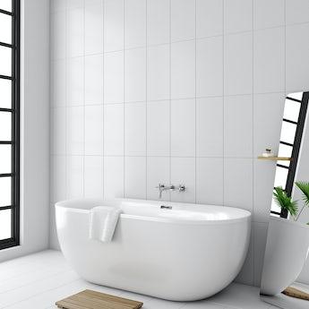 Laura Ashley white marise white gloss wall tile 248mm x 498mm