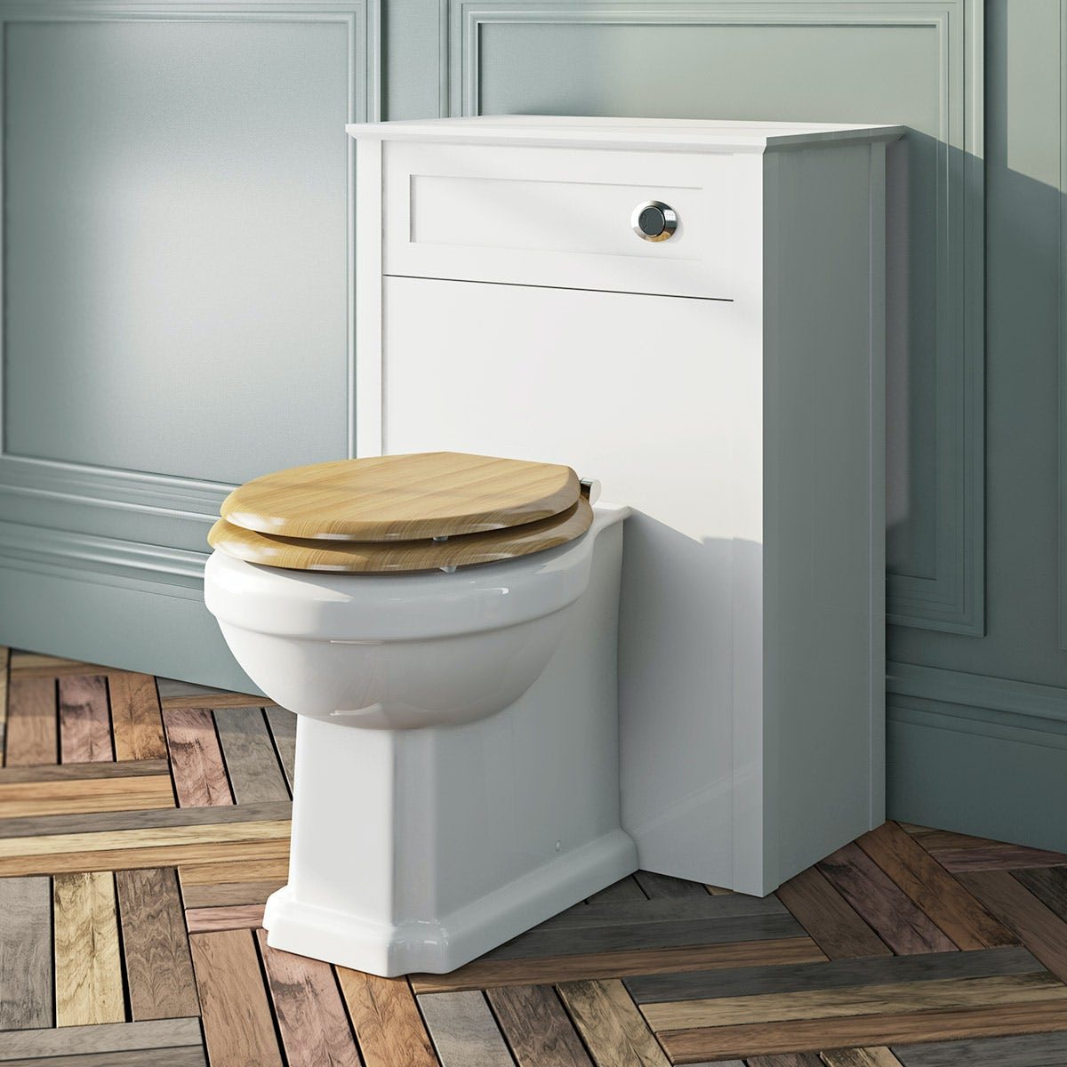 The Bath Co Camberley Back To Wall Toilet With Oak Effect Wooden - Oak toilet seat soft close