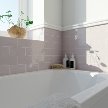 Laura Ashley Artisan amethyst pink gloss wall tile 75mm x 150mm