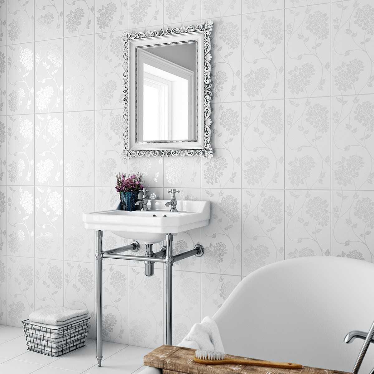 Laura Ashley white isadore gloss wall tile 248mm x 498mm