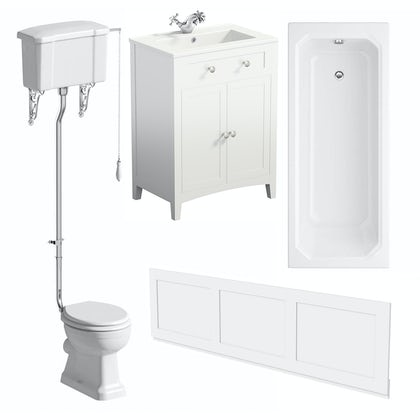 The Bath Co. Camberley white high level furniture suite with straight bath 1700 x 700