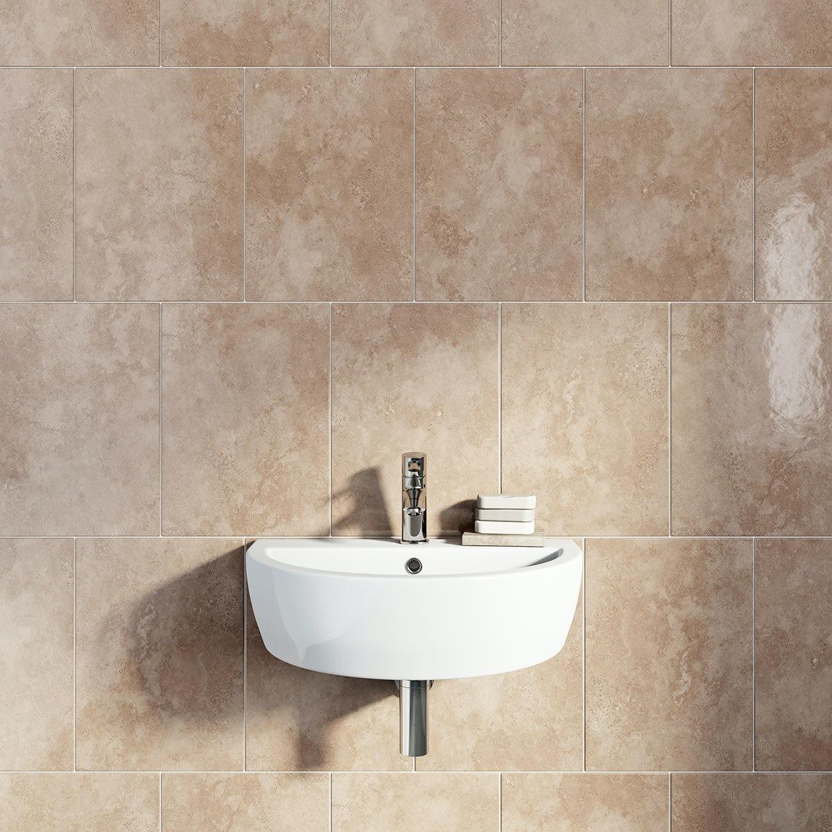 British Ceramic Tile Earth nut gloss tile 300mm x 416mm