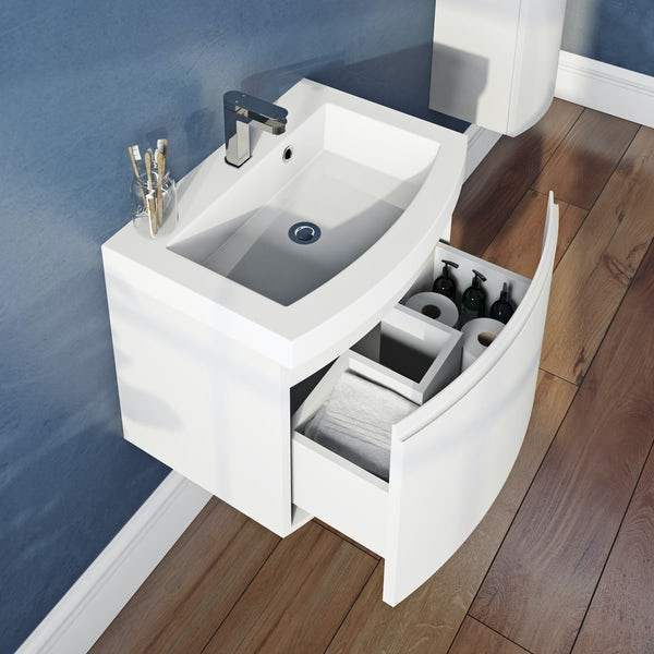 Mode Harrison snow wall hung vanity unit with basin 600mm