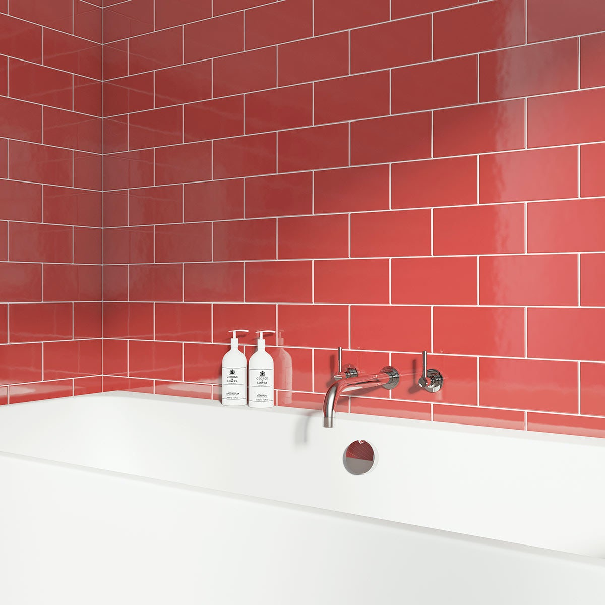red gloss metro tile with bath and tap