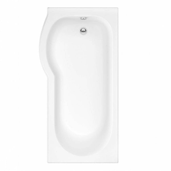 Orchard P shaped left handed shower bath 1500mm with 6mm shower screen and rail