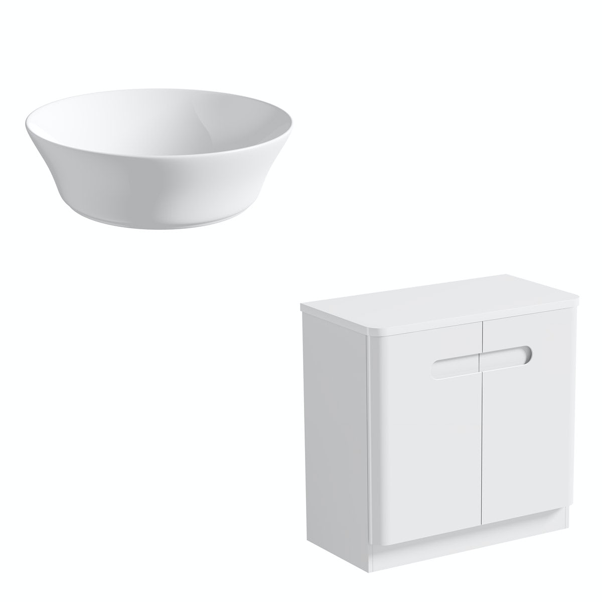 Mode Ellis white countertop door unit 800mm with Bowery basin