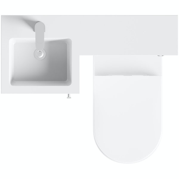 Orchard Myspace white left handed unit with contemporary toilet and seat