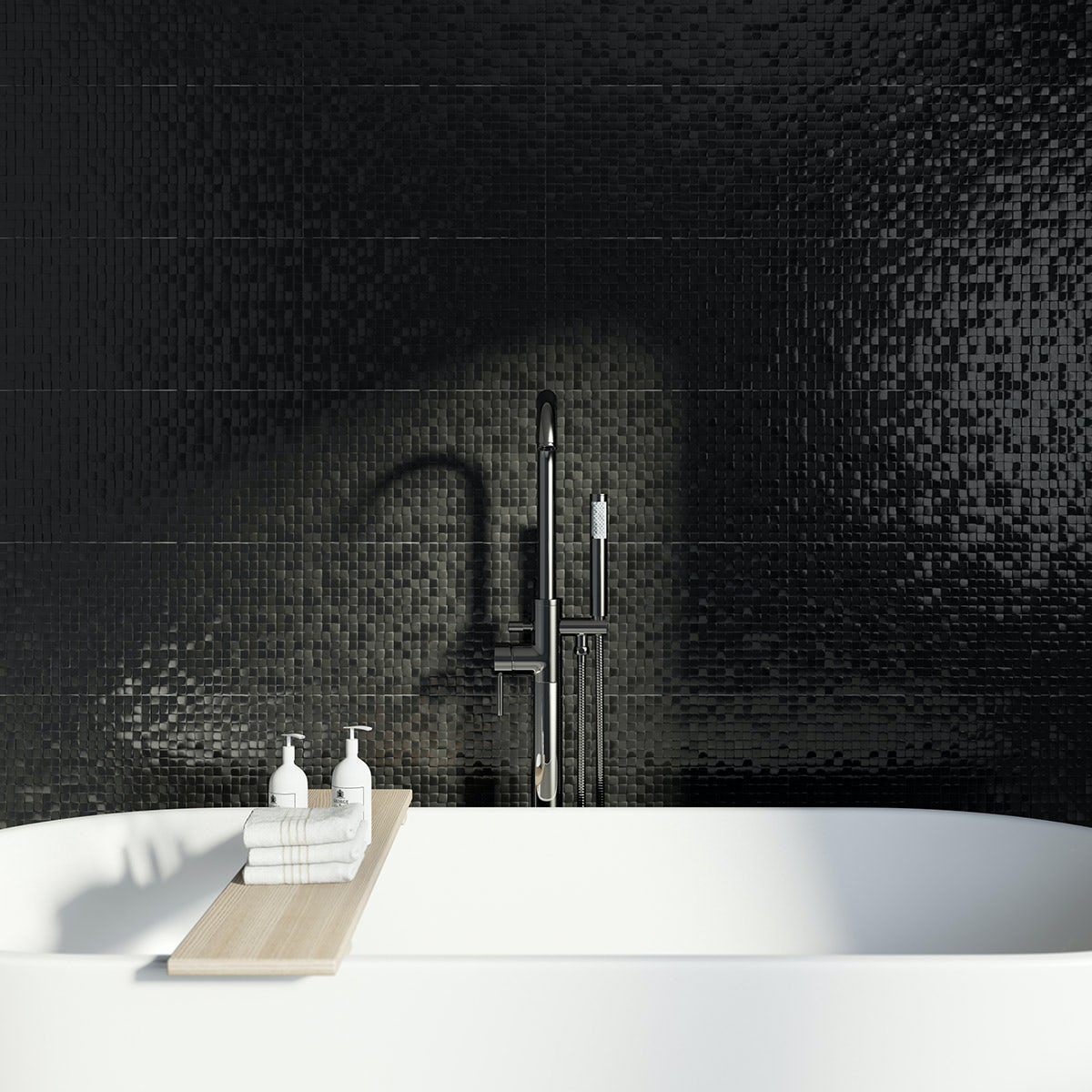 Studio Conran hartland black pressed mosaic gloss tile 248mm x 398mm
