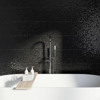Studio Conran hartland black pressed mosaic gloss tile 248mm x 398mm