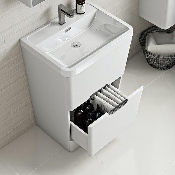 Mode Sherwood white floor standing vanity unit and resin basin 600mm