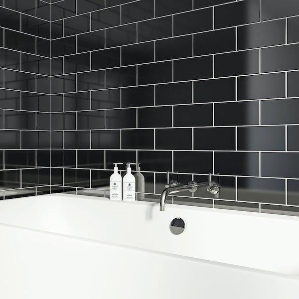 British Ceramic Tile Metro flat black gloss tile 100mm x 200mm ...