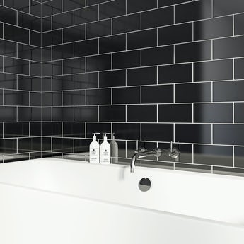 Metro flat black gloss tile 100mm x 200mm