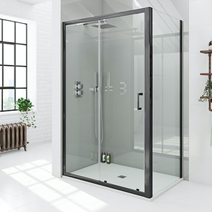 Mode black 6mm sliding shower enclosure with white slate effect tray 1200 x 800