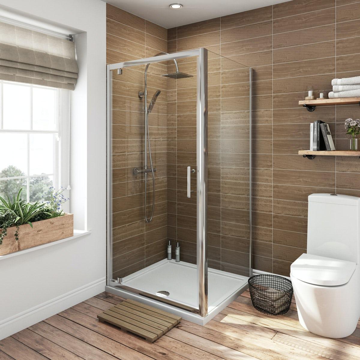 Orchard 6mm square pivot shower enclosure 760 x 760