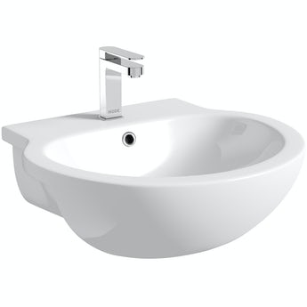Maine 1 tap hole semi recessed countertop basin 545mm