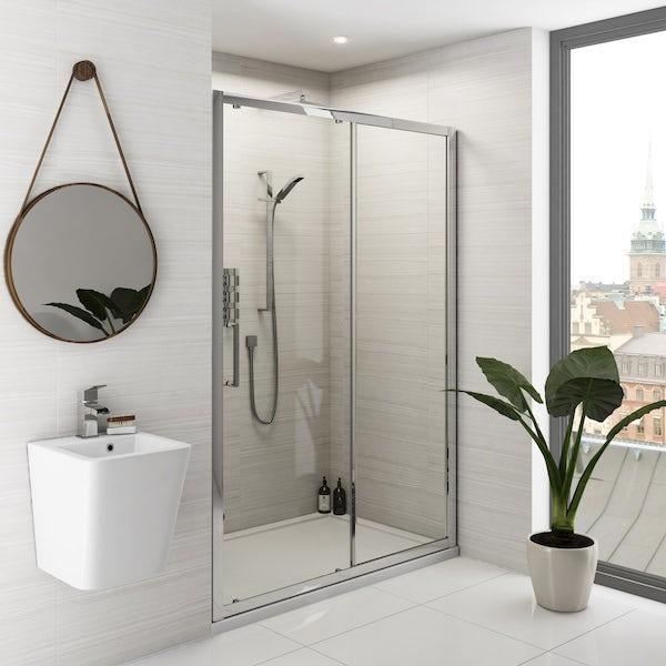 Mode Ellis complete bathroom suite with shower door, tray, shower and taps